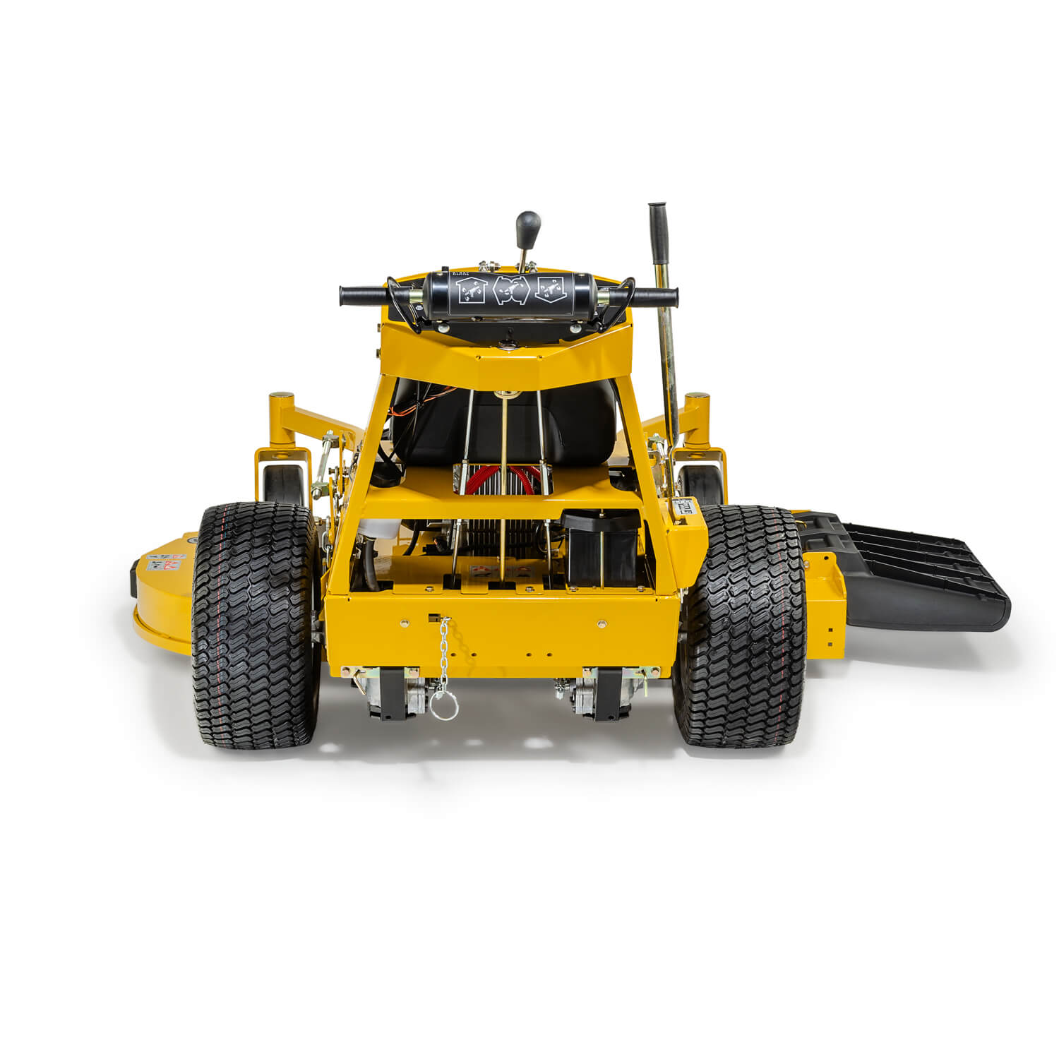Image of the rear of a yellow walk-behind mower