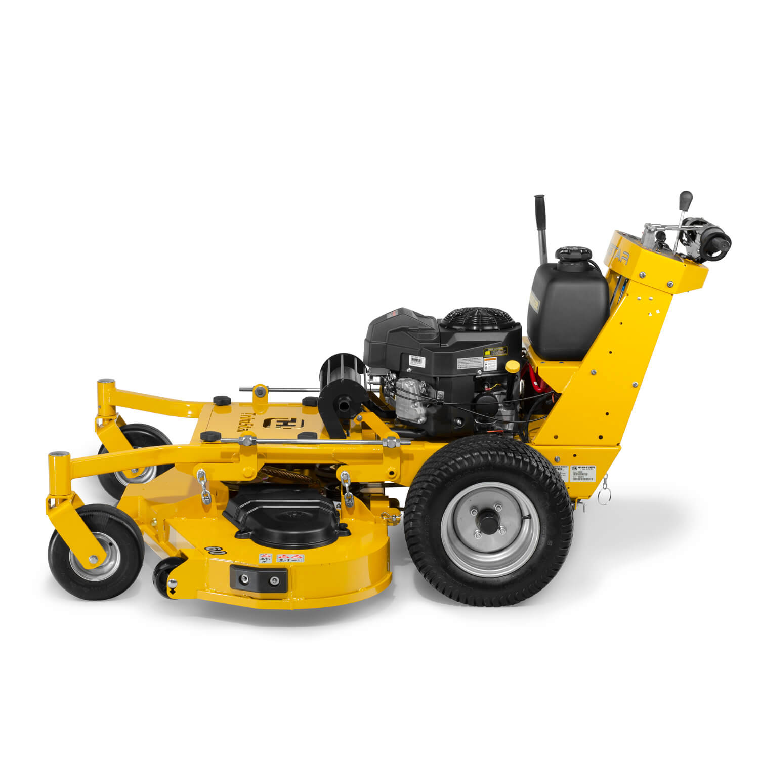 Image of the profile of a yellow walk-behind mower