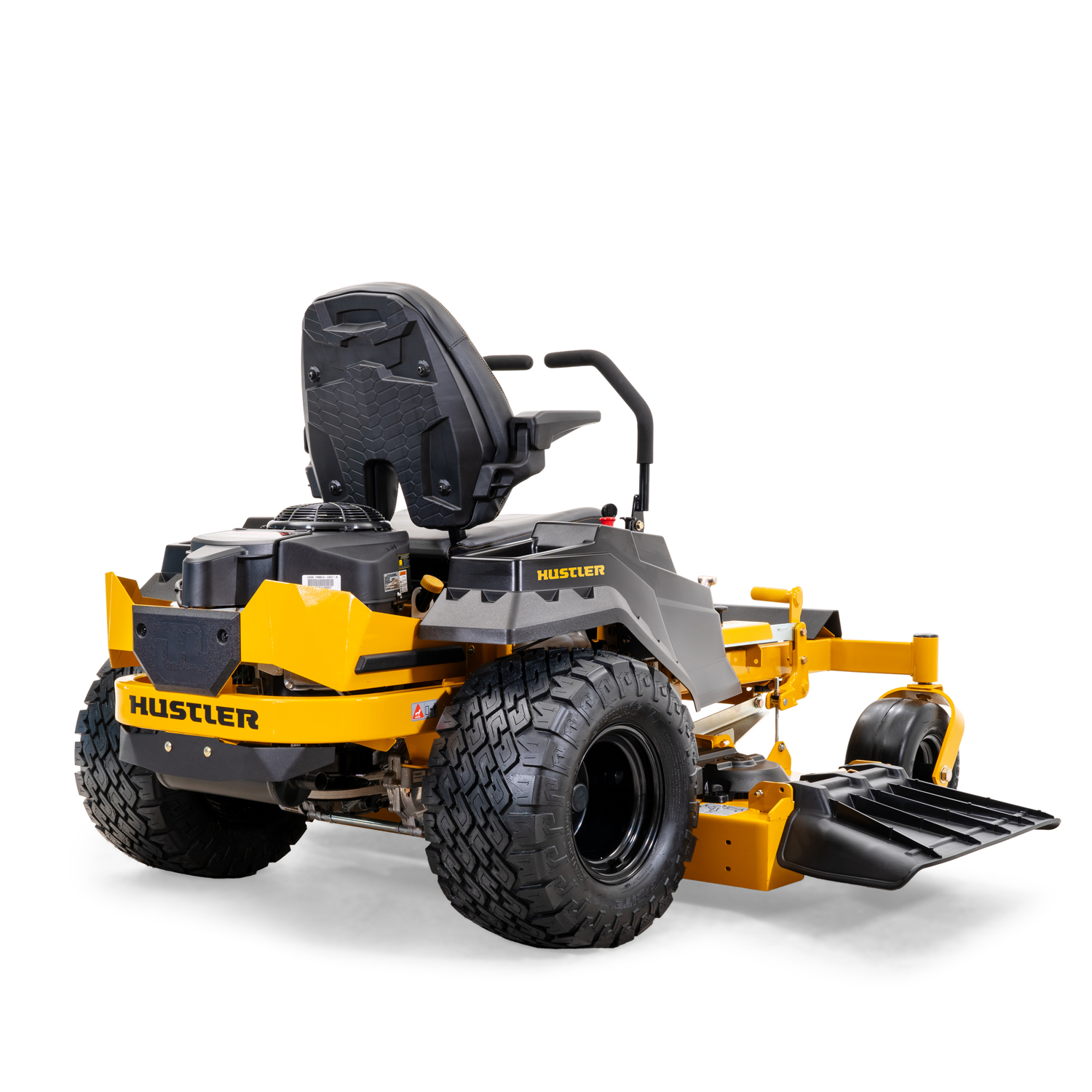 Image of the rear three quarters of a riding mower