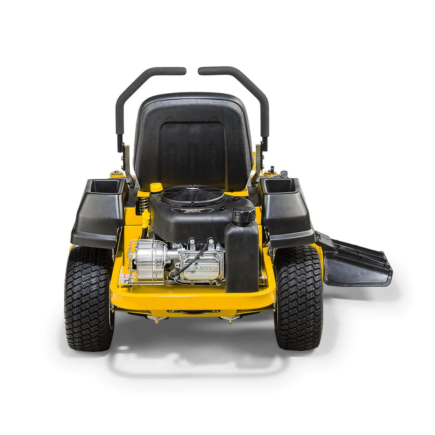 Image of the rear of a yellow mower showing the engine