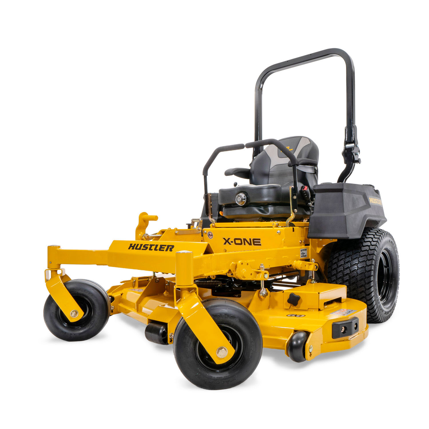 Image of the rear three quarters of a yellow zero-turn mower showing the discharge side of the deck