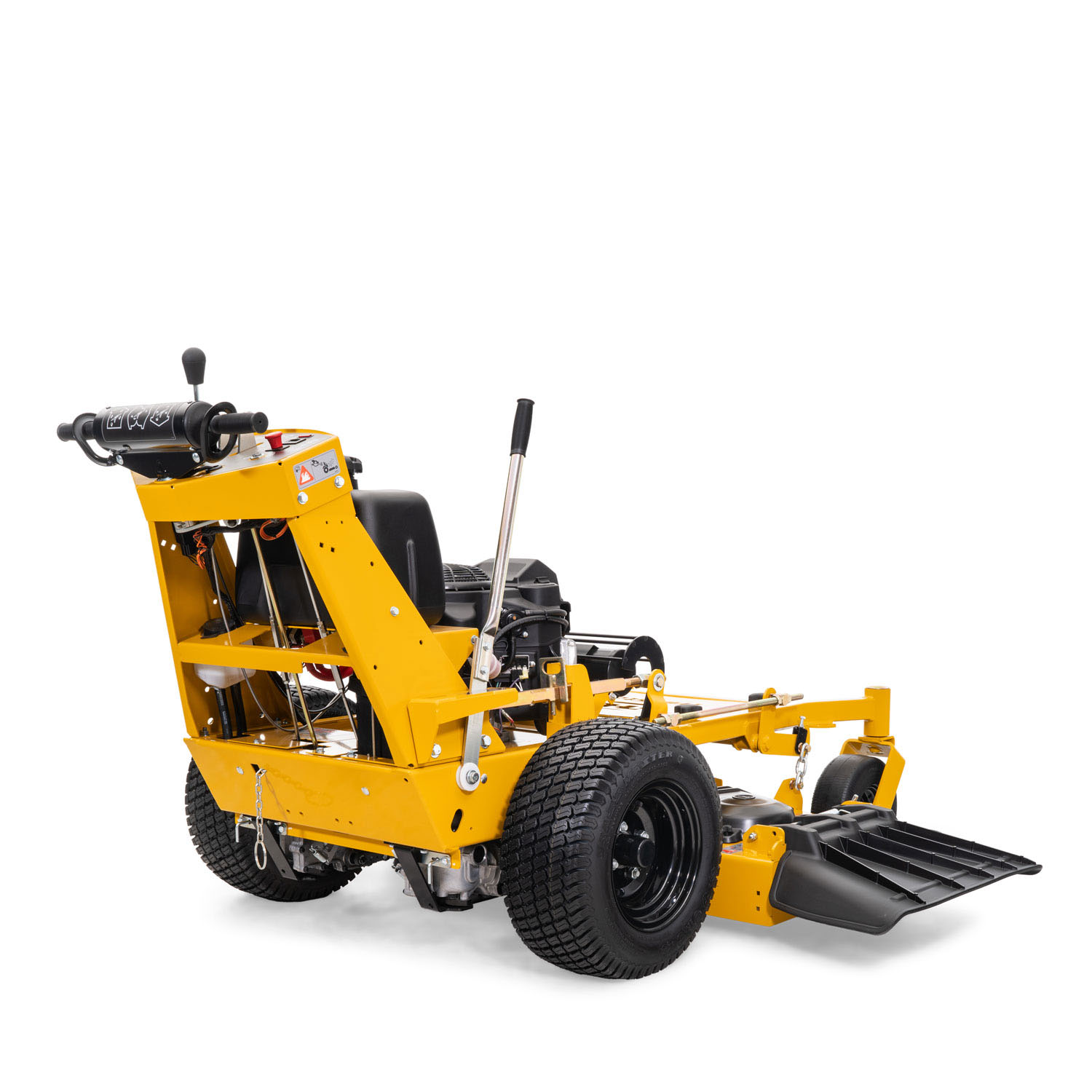 Image of the rear three quarters of a yellow walk-behind mower