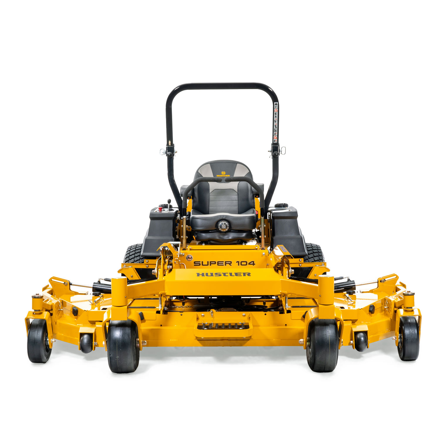Image of the front of a yellow zero-turn mower with wing decks unfolded next to the main deck