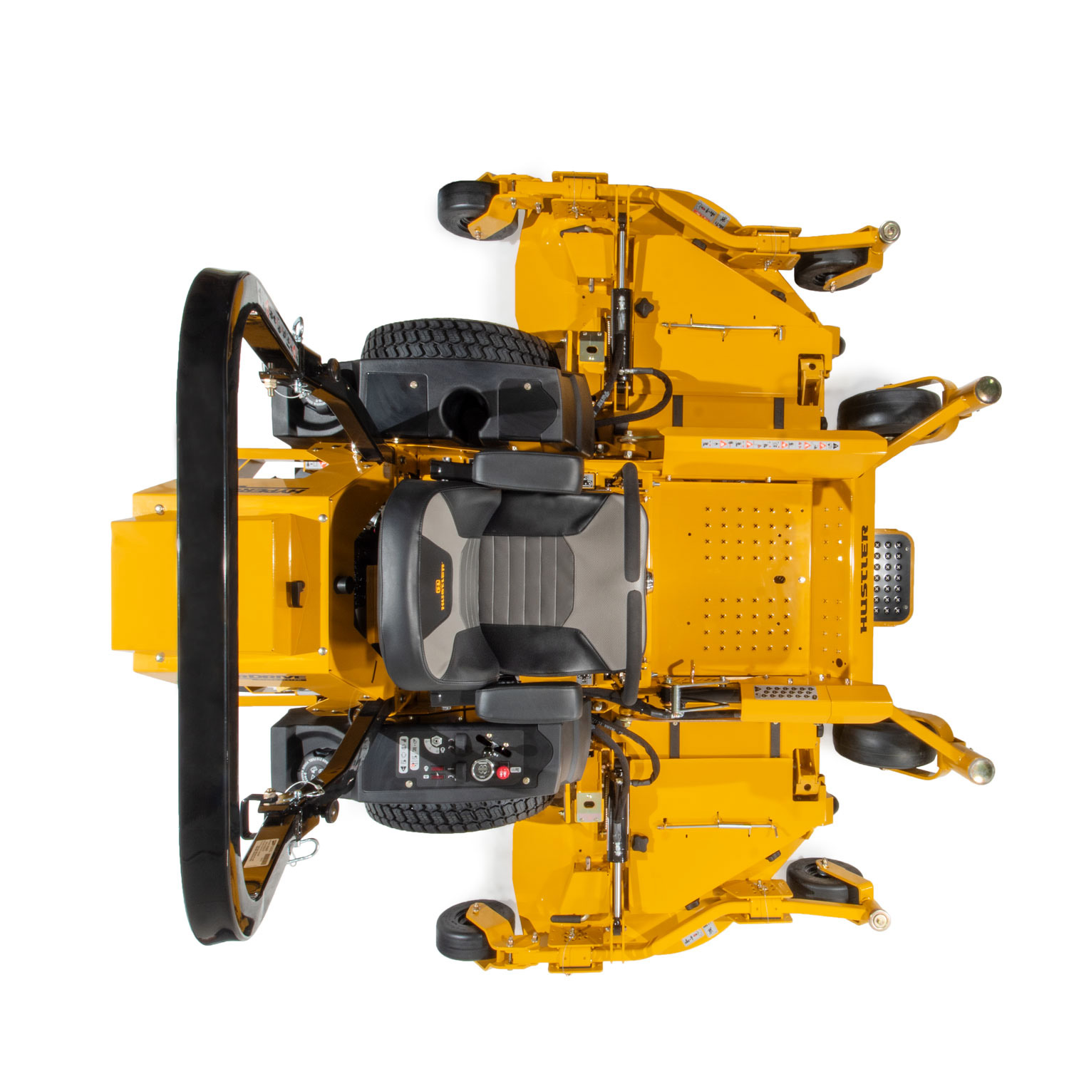 Image of a yellow zero-turn mower with wing decks attached to the main deck seen from above