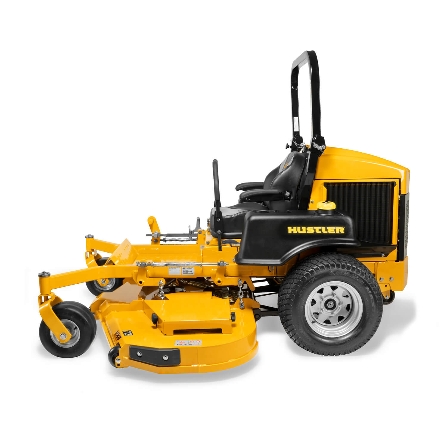 Image of the profile of a yellow zero-turn mower