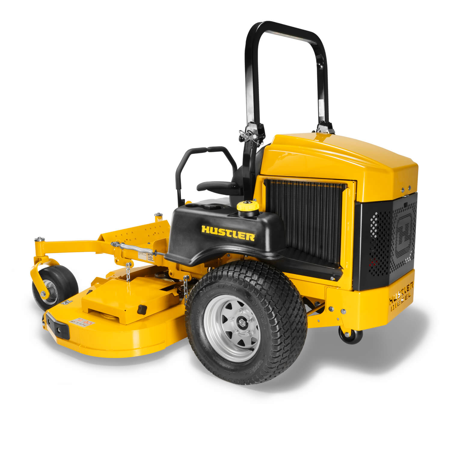 Image of the rear 3/4 of a yellow zero-turn mower