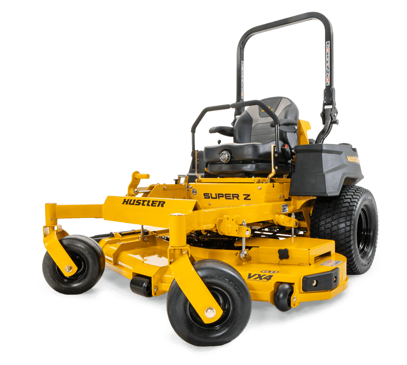 Image of a yellow riding mower seen from the back three quarters