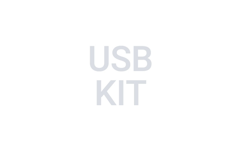 Image of gray text that reads usb kit on a white background.