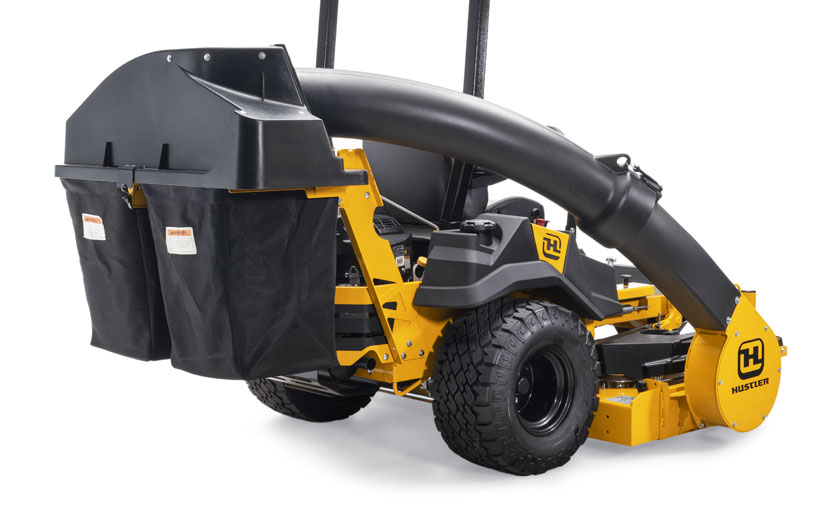 Image of a 2-bag grass catcher mounted on the back of a yellow mower