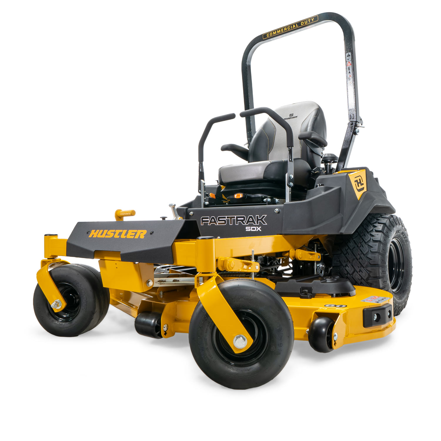 Image of the front of a yellow mower