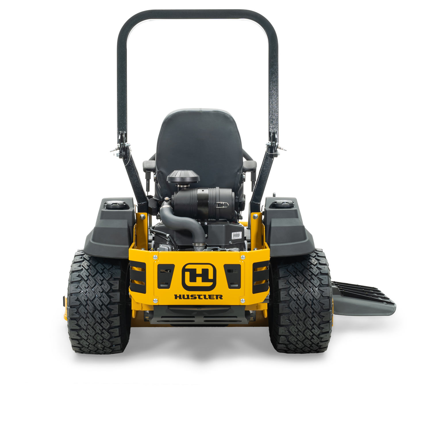Image of the back of a yellow mower