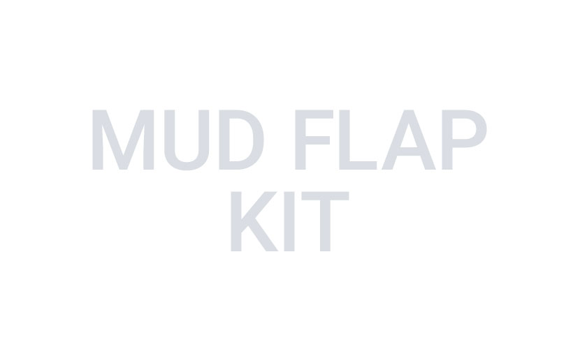 The words mud flap kit in gray on a white background