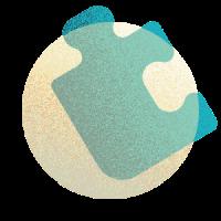 A blue blob on top of a tan circle