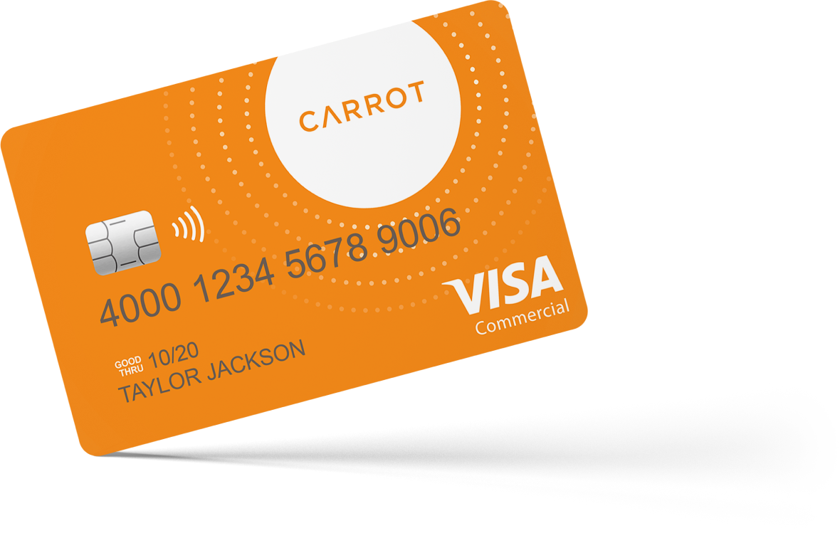 The Carrot card on a light orange background