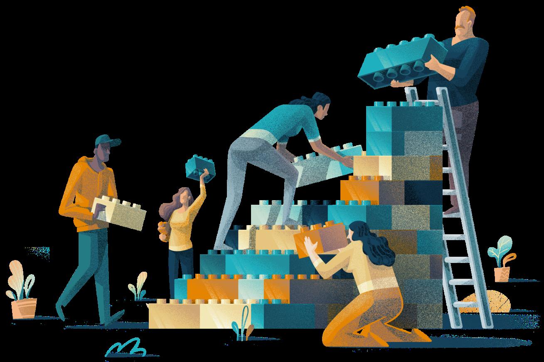 People stacking blocks together