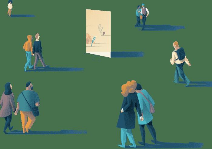 People walking around a door