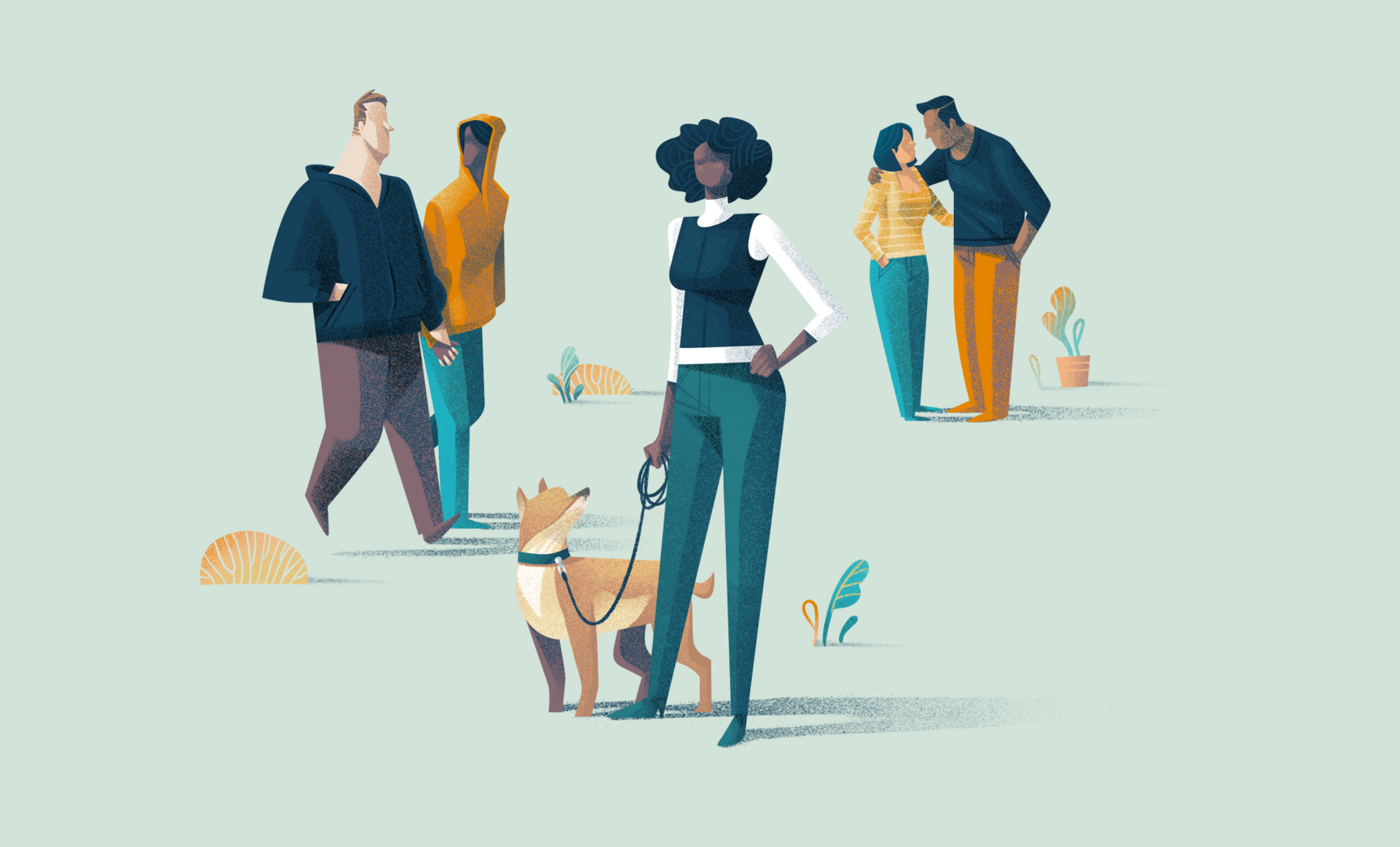 An illustration of a person standing with a dog to indicate starting an egg donor search