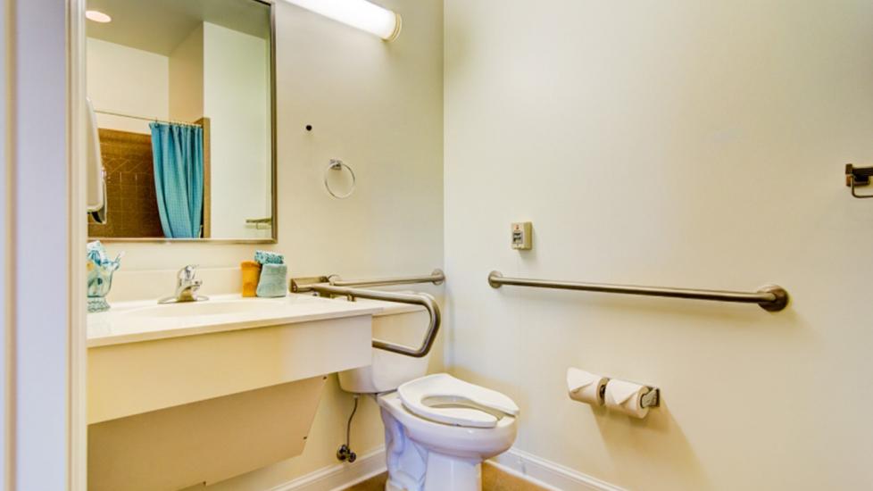 West Falls Center Assistant Living Bathroom Image, Falcons Landing Life Plan Community