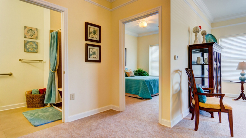 West Falls Center Assistant Living Bedroom in Falcons Landing Life Plan Community