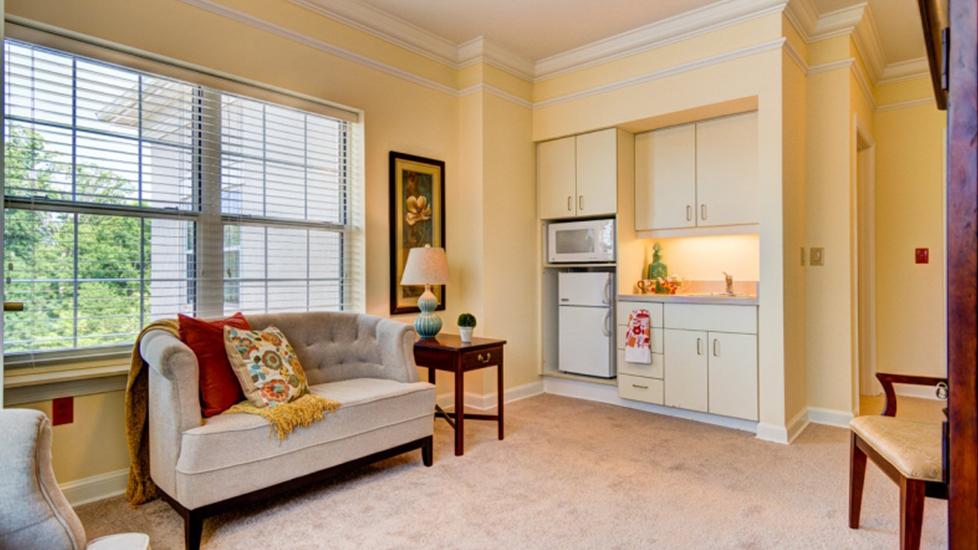 West Falls Center Assistant Living Kitchen Image, Falcons Landing Life Plan Community