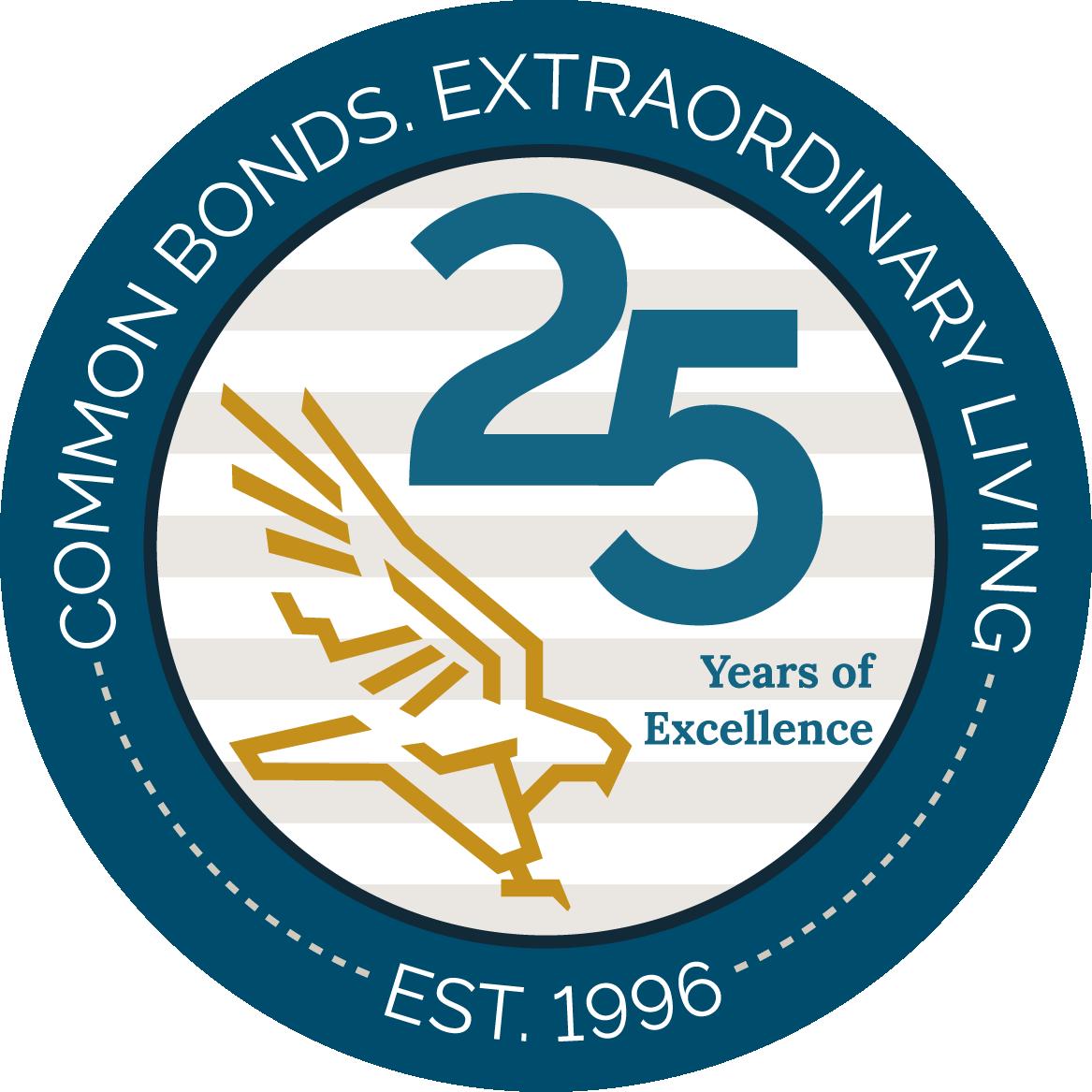 25years anniversary Logo of Falcons Land senior living, Virginia