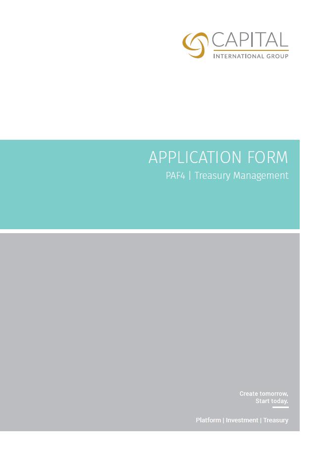 Application Form - PAF4 | Treasury Management