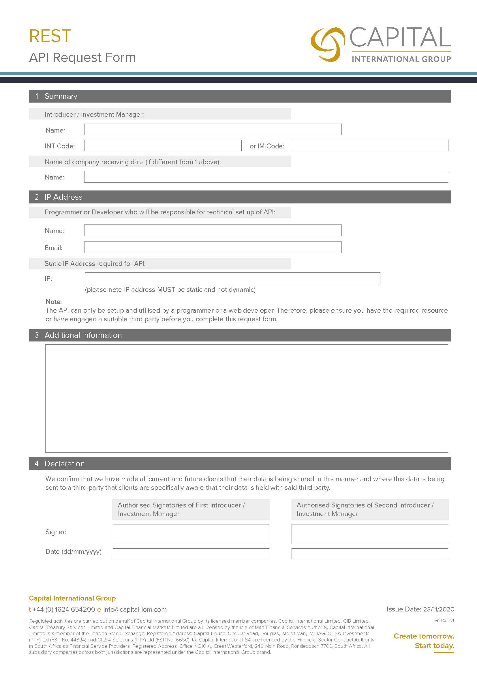 REST API Request Form