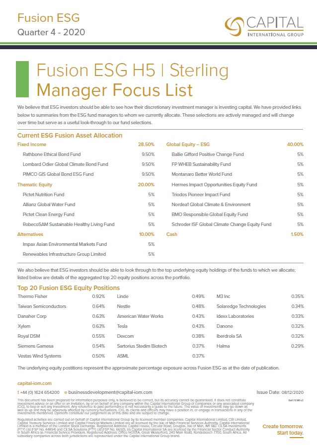 Fusion ESG Manager Focus List Q4 2020