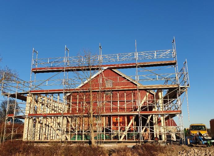 Fasadestillas på Elindgård i Fredrikstad