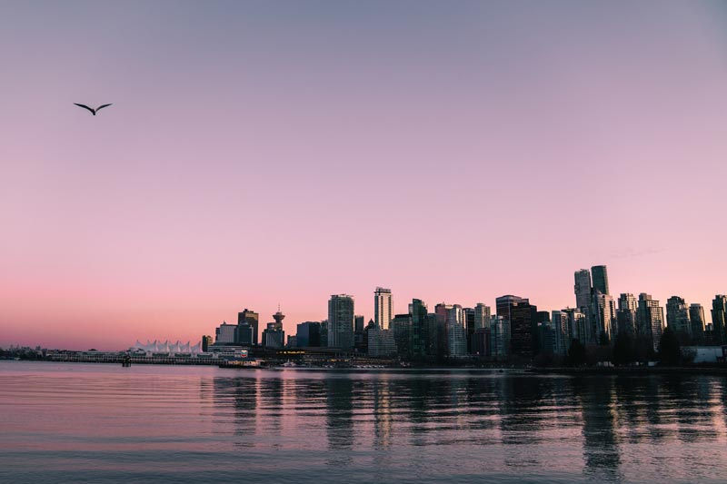Vancouver skyline at sunset