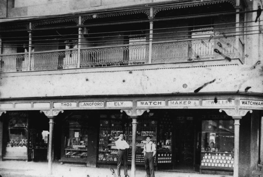 Historical photo of Langfords Jewellers on Stanley Street, Woolloongabba in 1907