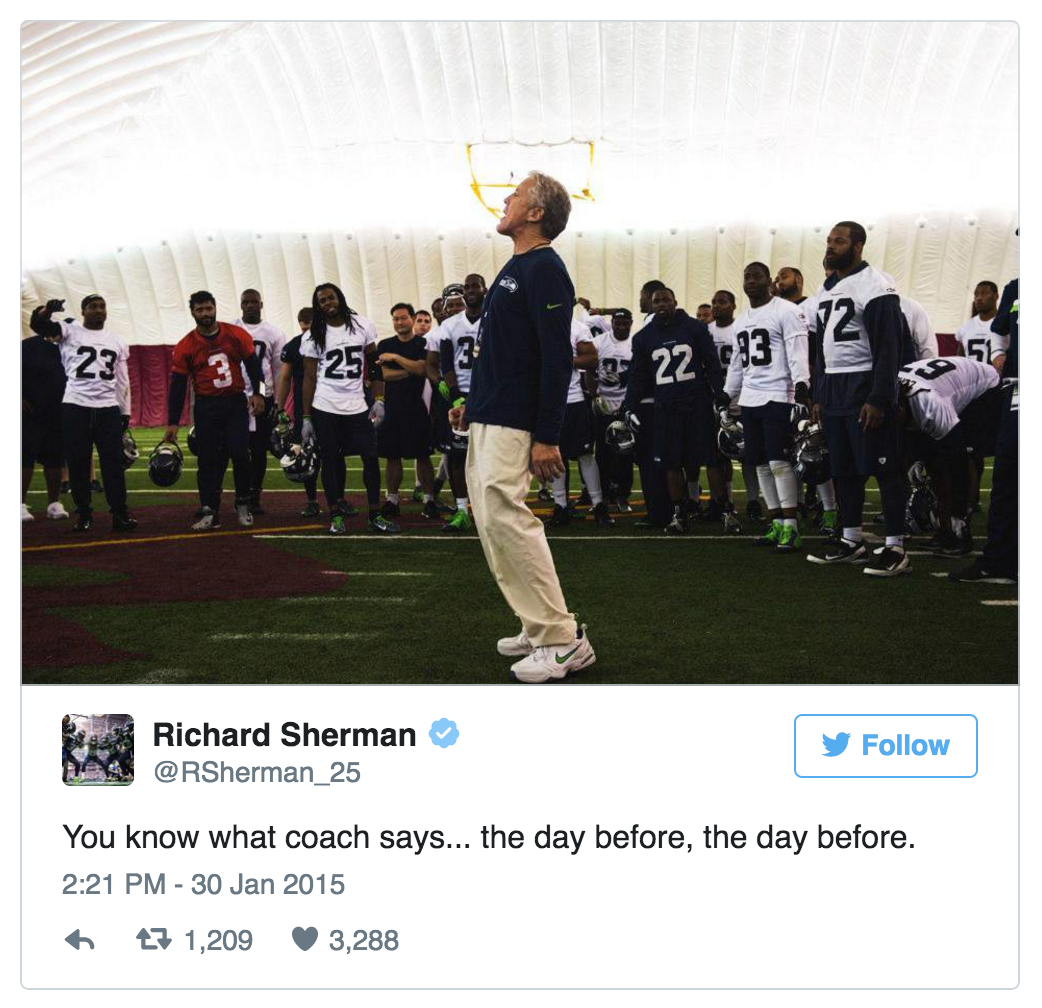 Tweet by Richard Sherman on personal experiences