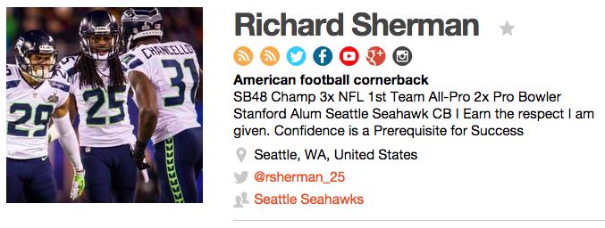 Richard Sherman social presence on Traackr