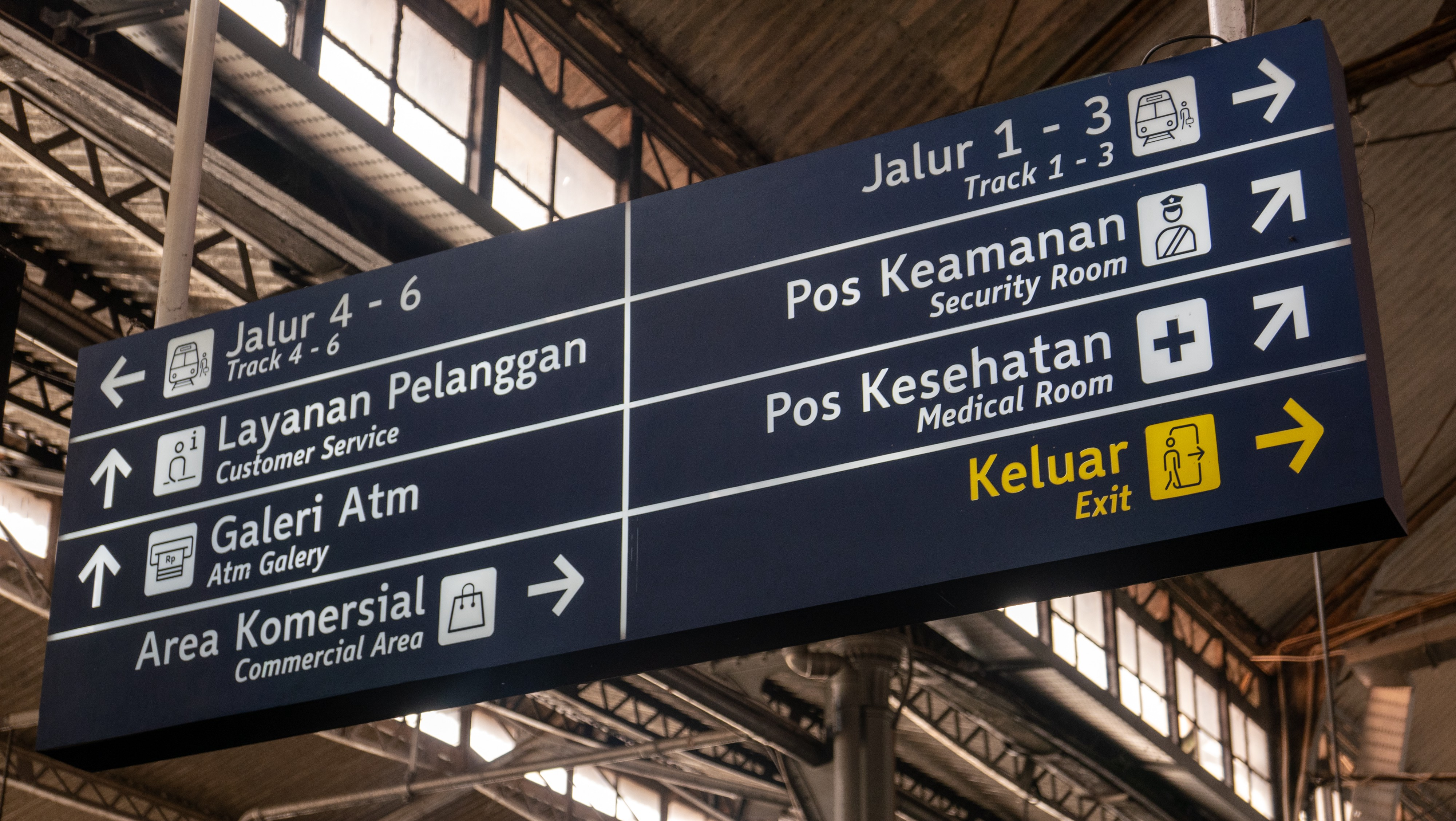 A sign in a train or bus station showing 8 different directions