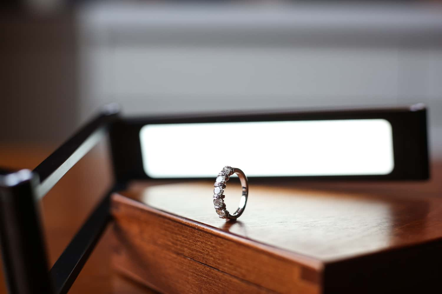 Ring sat on top of a table