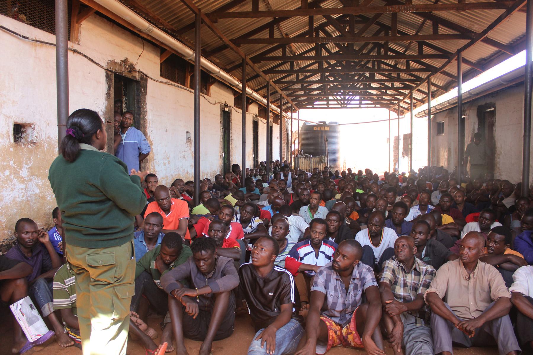 Legal aid session for remands at Luzira Prison, Uganda.