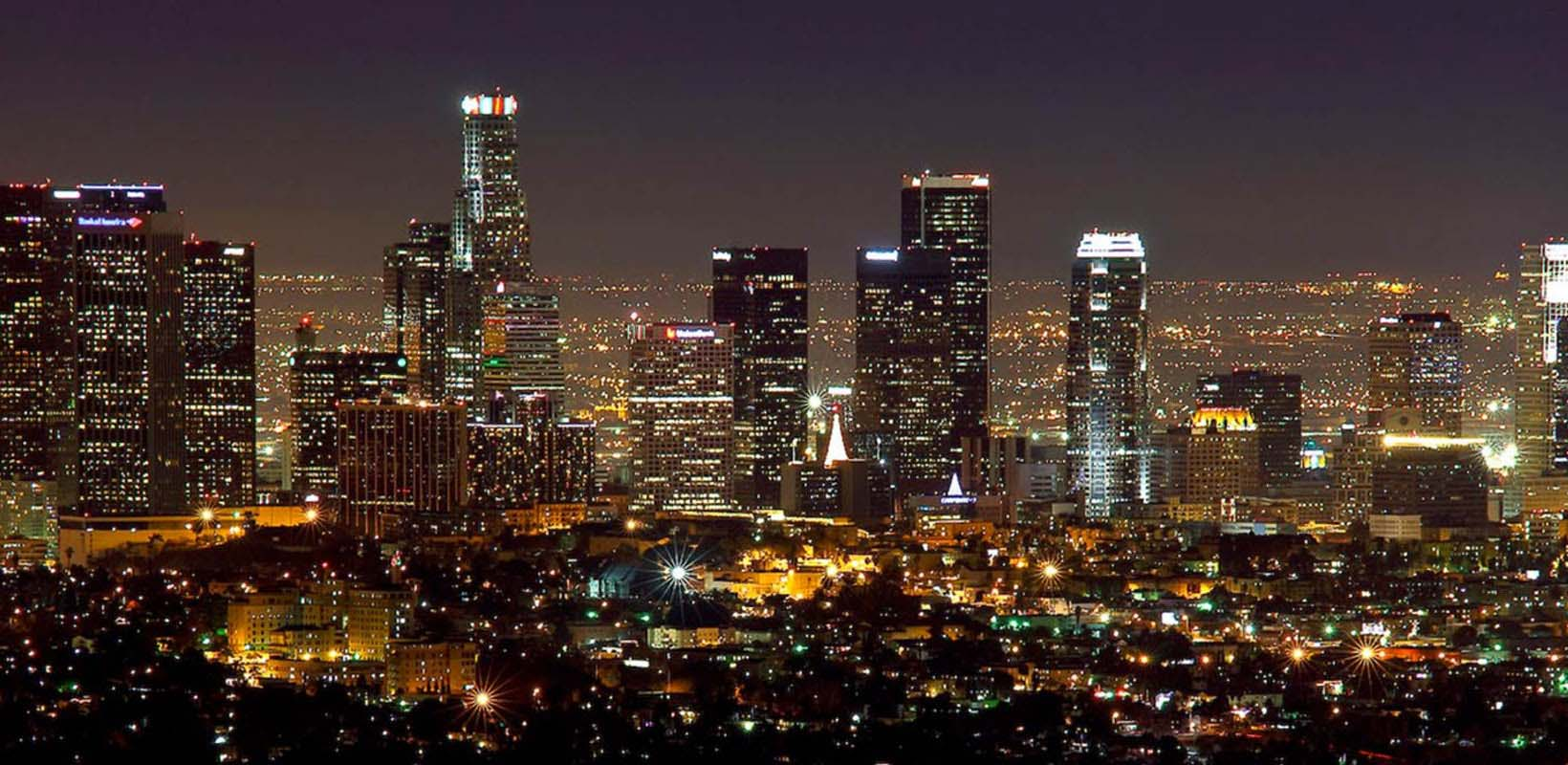 City tour of Los Angeles by night