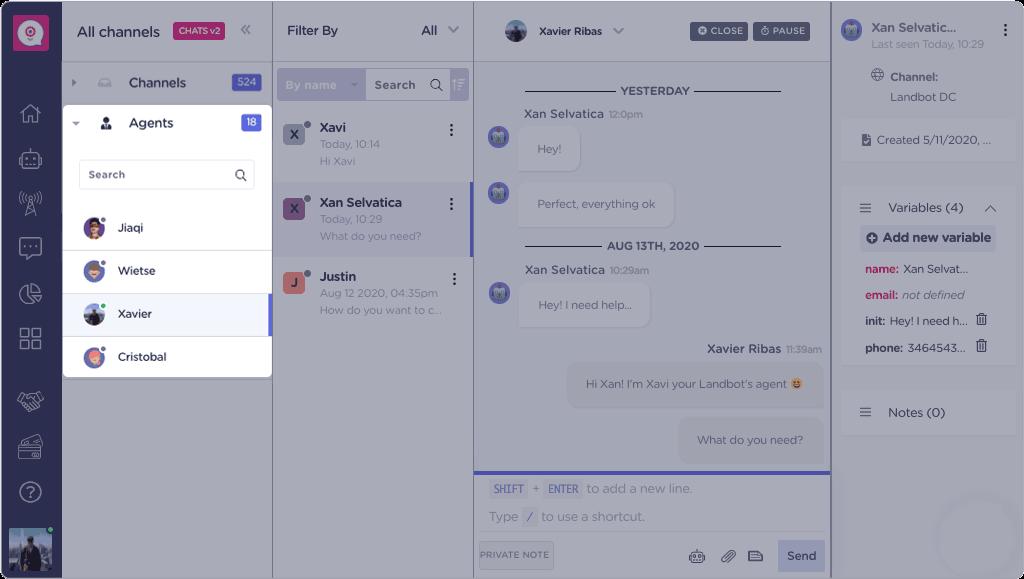 landbot chats agents