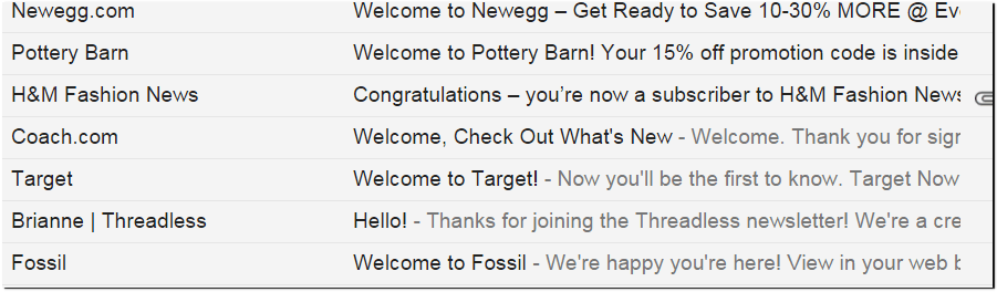 Welcome Email - Subject Lines