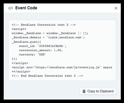 Sendlane Event Tracking Code - Ecommerce Business