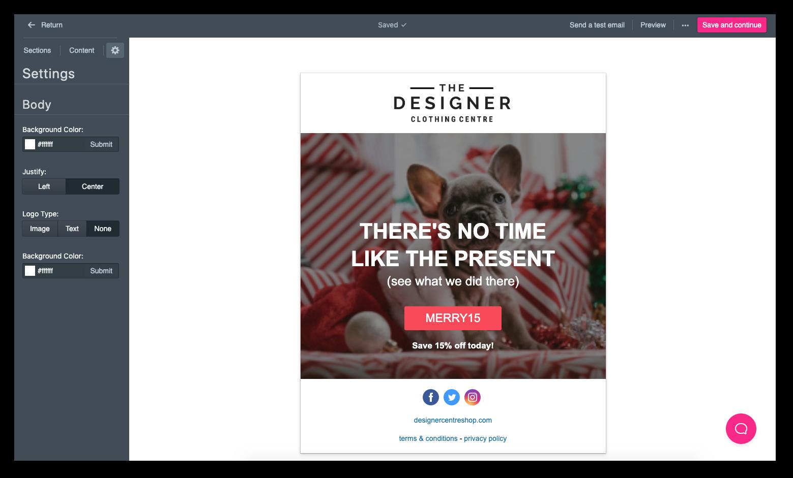 Sendlane_Holiday_Funnel_Email_Editor