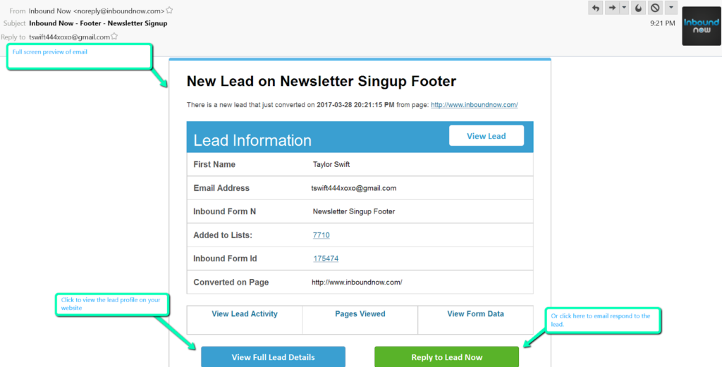 Get email notifications from Inbound Nows opt-in forms