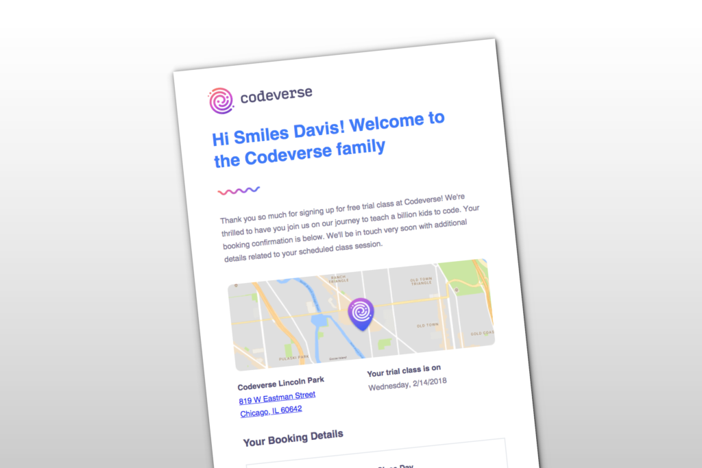 How Codeverse Confirms Booking Details With A Friendly, Minimalist Email Design