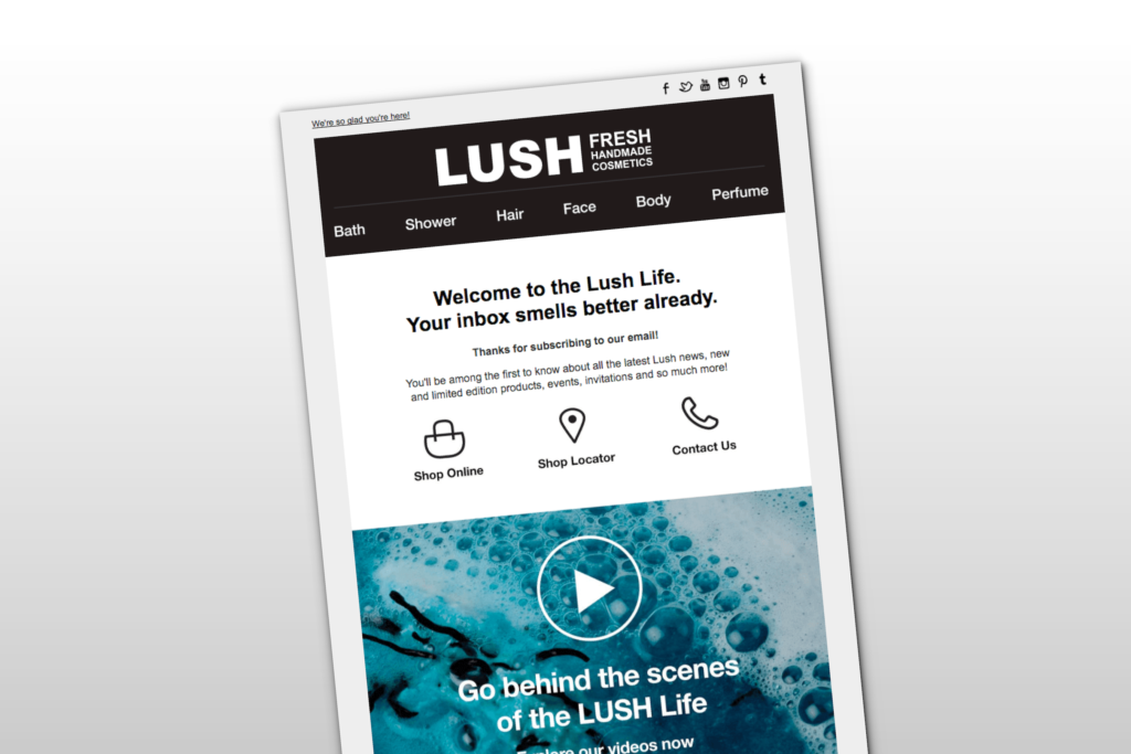 How Lush Boosts Sales With Vibrantly Branded Welcome Messages