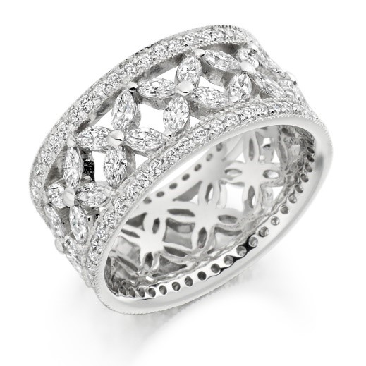 bigger diamond - engagement, wedding and eternity ring all in one.