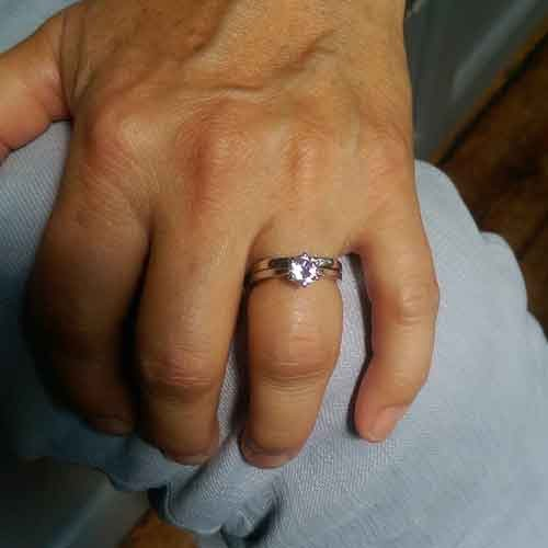 Engagement ring remodelling project - Trapezoid ring on client hand