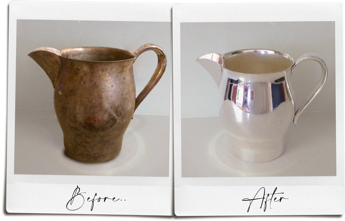 Old water jug pre and post silver plating