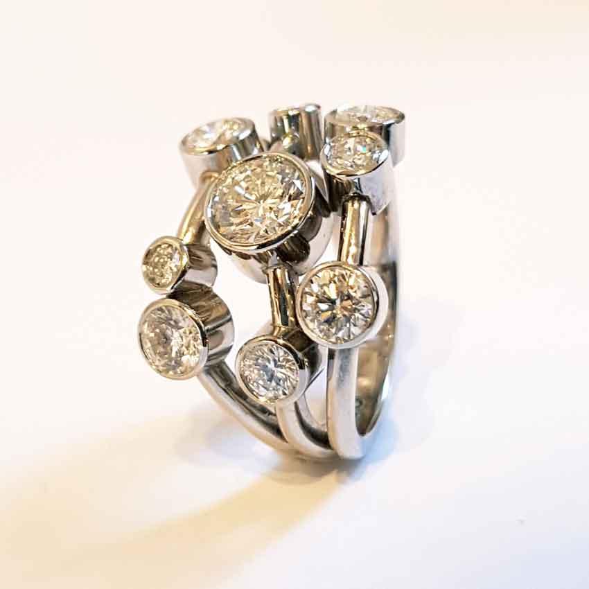 Bespoke bubble ring design showing multi shank effect