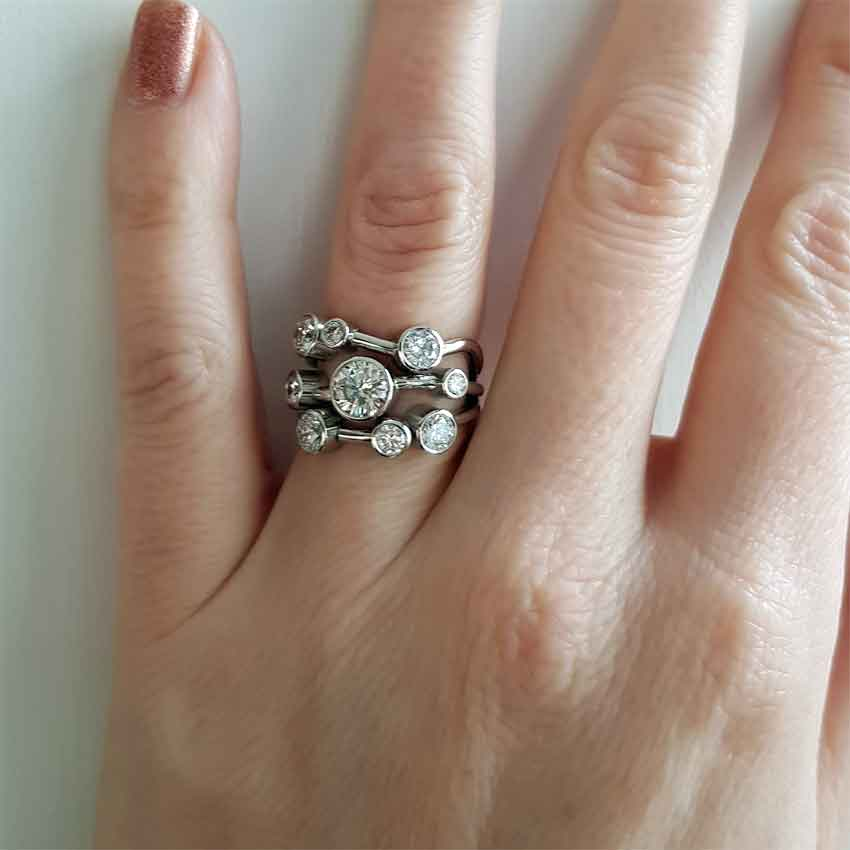Bespoke bubble ring design on hand