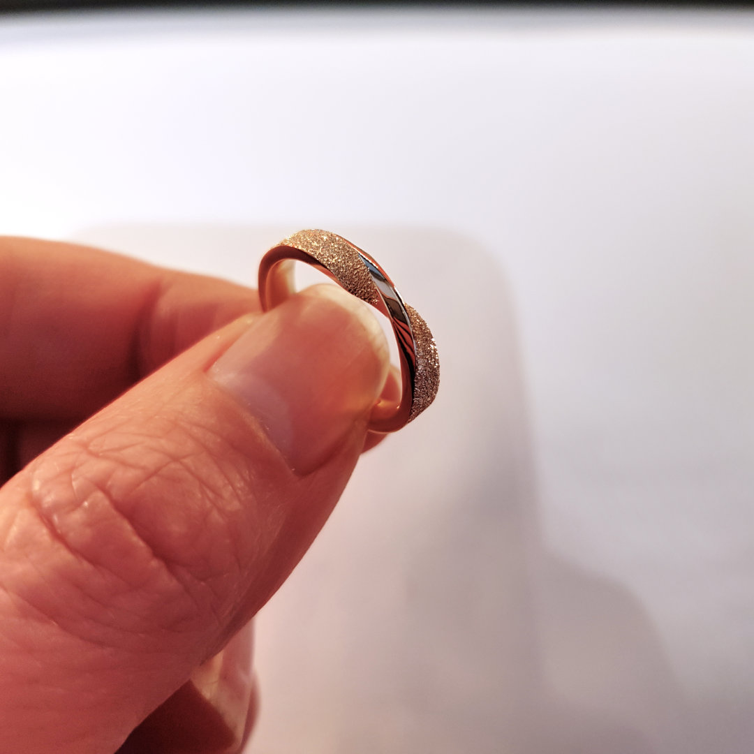 Moebius twist ring made from old gold jewellery.